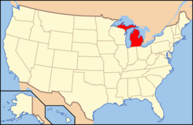 Michigan na mapě USA